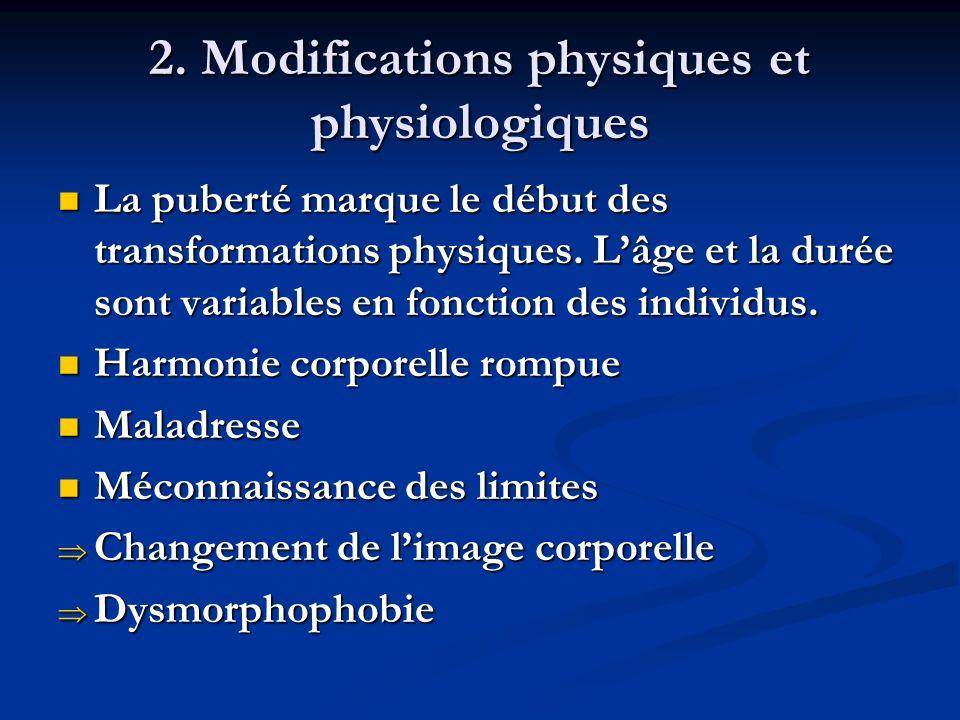 2. Modifications physiques et physiologiques La puberté marque le début des transformations physiques. Lâge et la durée sont variables en fonction des
