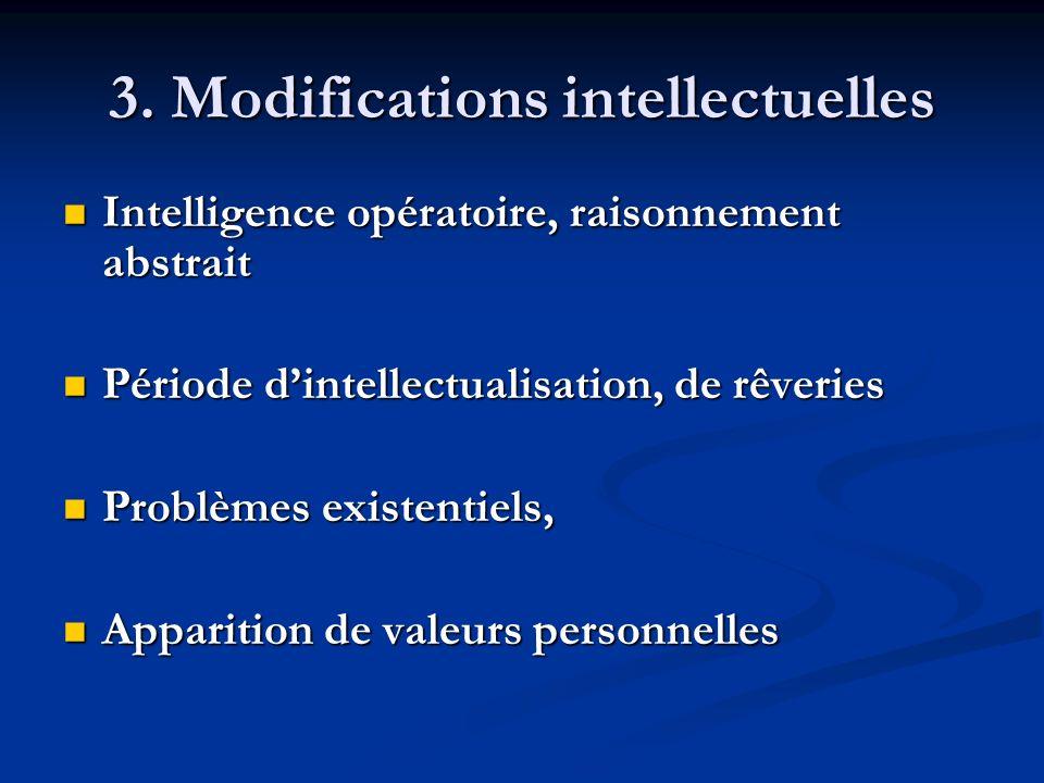 3. Modifications intellectuelles Intelligence opératoire, raisonnement abstrait Intelligence opératoire, raisonnement abstrait Période dintellectualis