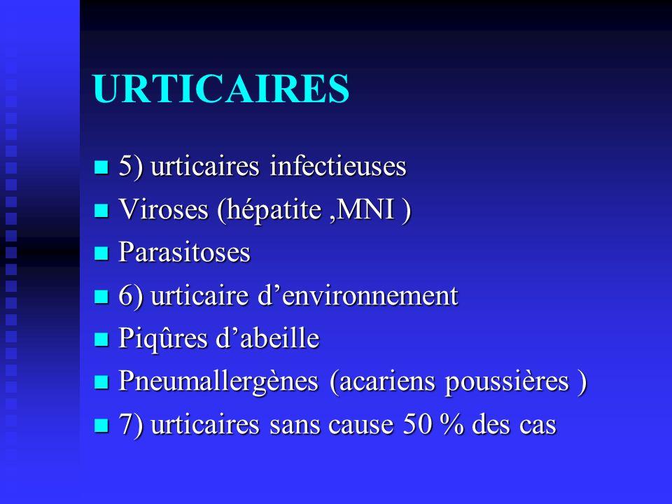 URTICAIRES 5) urticaires infectieuses 5) urticaires infectieuses Viroses (hépatite,MNI ) Viroses (hépatite,MNI ) Parasitoses Parasitoses 6) urticaire