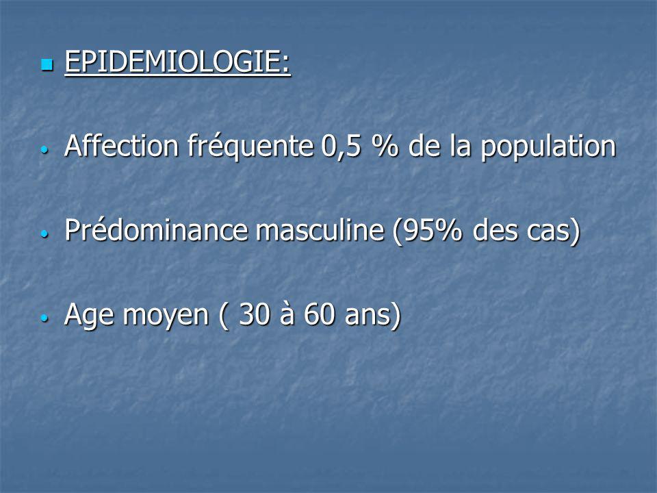 EPIDEMIOLOGIE: EPIDEMIOLOGIE: Affection fréquente 0,5 % de la population Affection fréquente 0,5 % de la population Prédominance masculine (95% des ca
