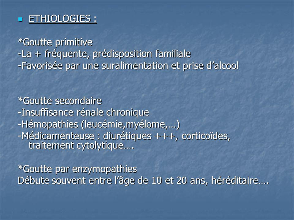 ETHIOLOGIES : ETHIOLOGIES : *Goutte primitive -La + fréquente, prédisposition familiale -Favorisée par une suralimentation et prise dalcool *Goutte se