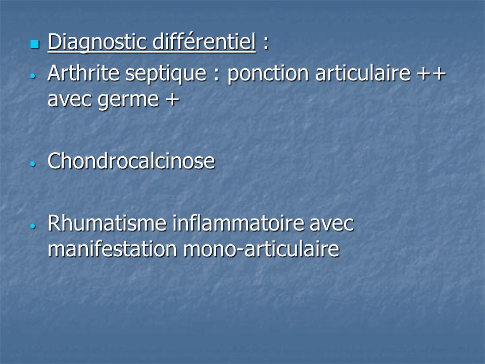 Diagnostic différentiel : Diagnostic différentiel : Arthrite septique : ponction articulaire ++ avec germe + Arthrite septique : ponction articulaire