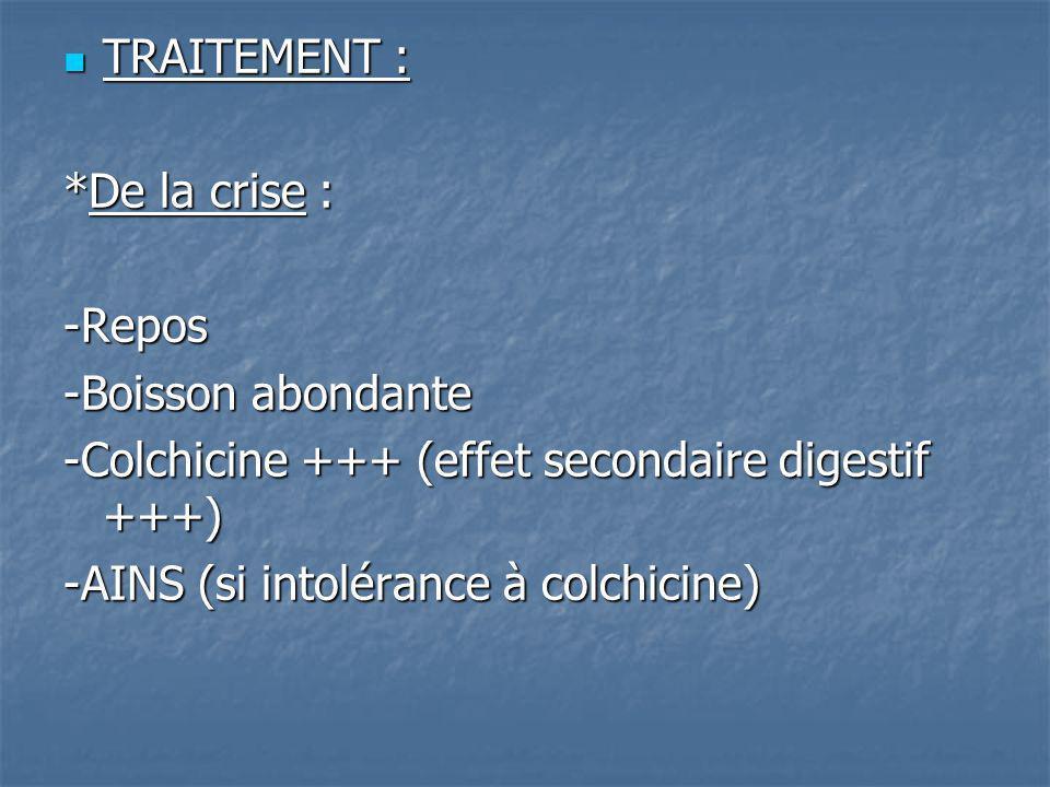 TRAITEMENT : TRAITEMENT : *De la crise : -Repos -Boisson abondante -Colchicine +++ (effet secondaire digestif +++) -AINS (si intolérance à colchicine)