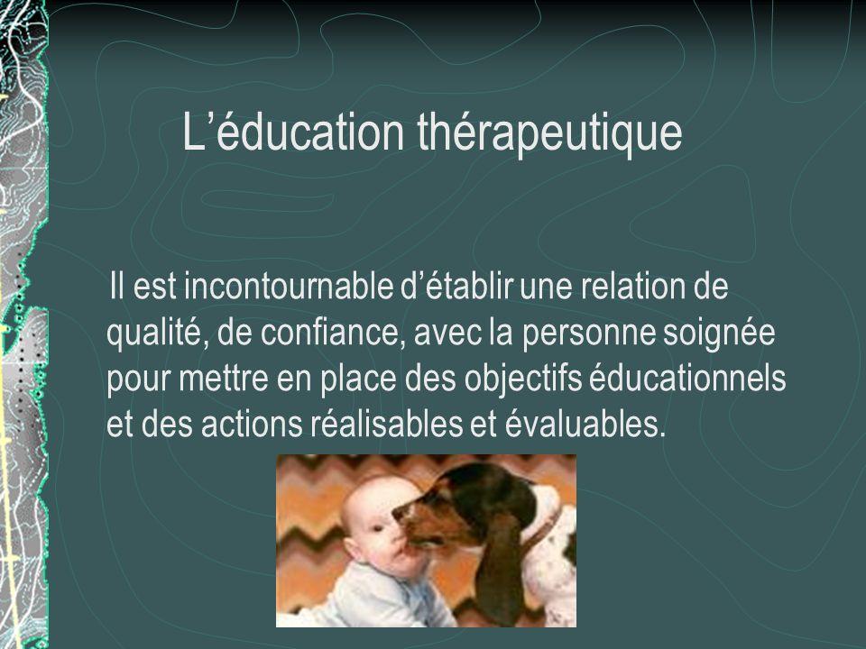 Limportance de léducation « …sans la motivation des deux partenaires, soignant et patient, il est illusoire despérer un quelconque effet bénéfique du