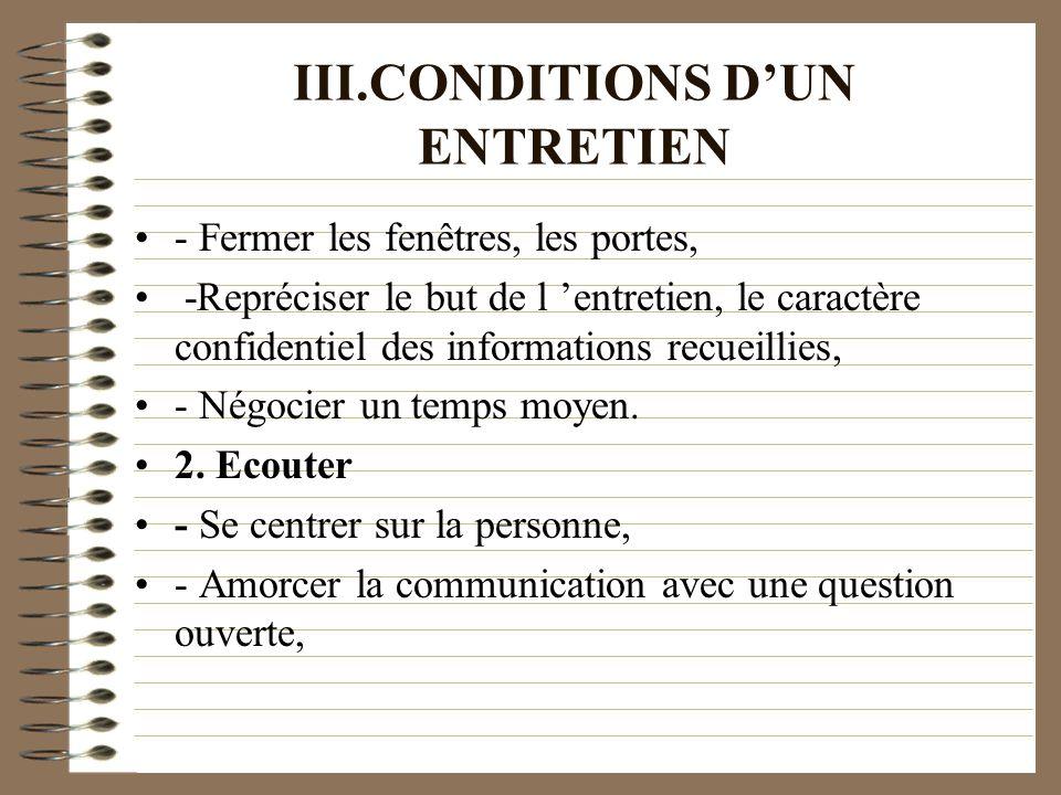 III.CONDITIONS DUN ENTRETIEN - Fermer les fenêtres, les portes, -Repréciser le but de l entretien, le caractère confidentiel des informations recueill