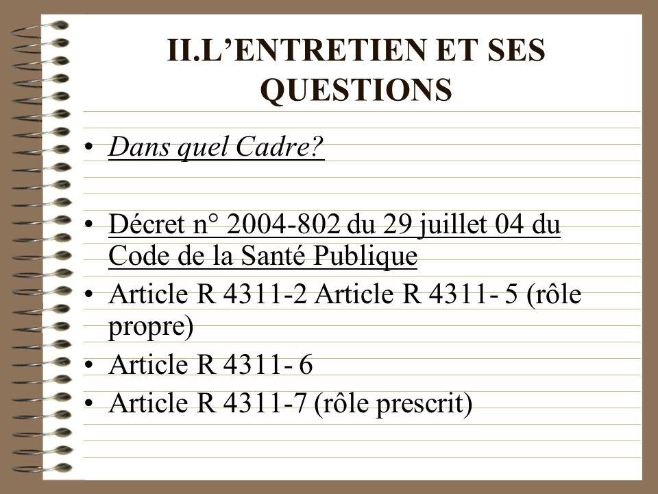 II.LENTRETIEN ET SES QUESTIONS Dans quel Cadre? Décret n° 2004-802 du 29 juillet 04 du Code de la Santé Publique Article R 4311-2 Article R 4311- 5 (r