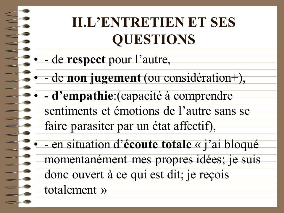 II.LENTRETIEN ET SES QUESTIONS - de respect pour lautre, - de non jugement (ou considération+), - dempathie:(capacité à comprendre sentiments et émoti