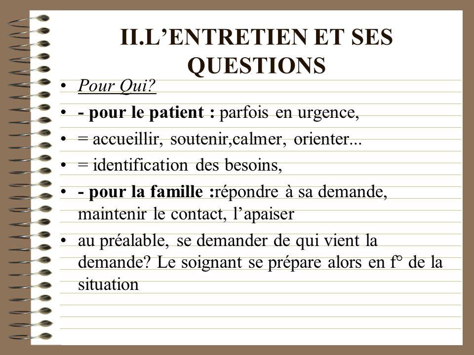 II.LENTRETIEN ET SES QUESTIONS Pour Qui? - pour le patient : parfois en urgence, = accueillir, soutenir,calmer, orienter... = identification des besoi