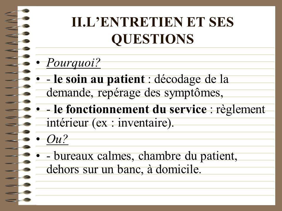 II.LENTRETIEN ET SES QUESTIONS Pourquoi? - le soin au patient : décodage de la demande, repérage des symptômes, - le fonctionnement du service : règle