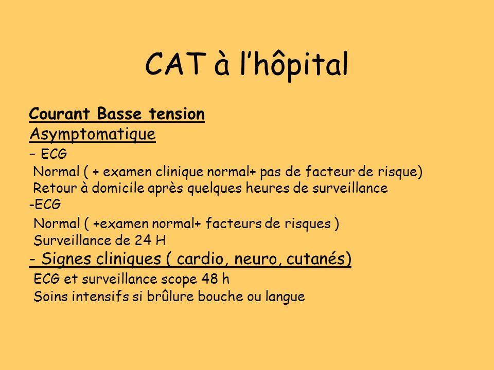 CAT à lhôpital Courant Basse tension Asymptomatique - ECG Normal ( + examen clinique normal+ pas de facteur de risque) Retour à domicile après quelque