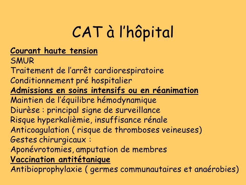 CAT à lhôpital Courant haute tension SMUR Traitement de larrêt cardiorespiratoire Conditionnement pré hospitalier Admissions en soins intensifs ou en