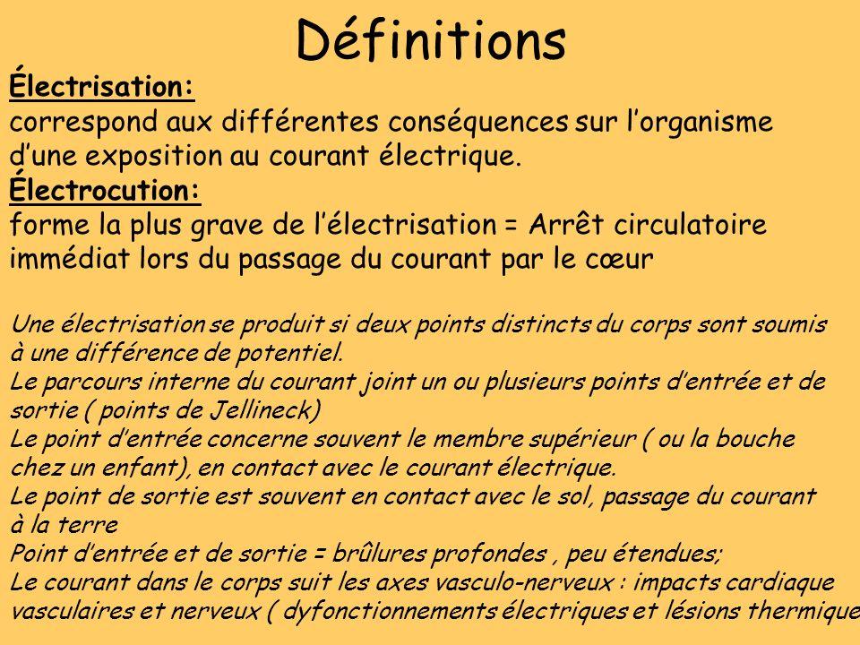 Définitions Électrisation: correspond aux différentes conséquences sur lorganisme dune exposition au courant électrique. Électrocution: forme la plus
