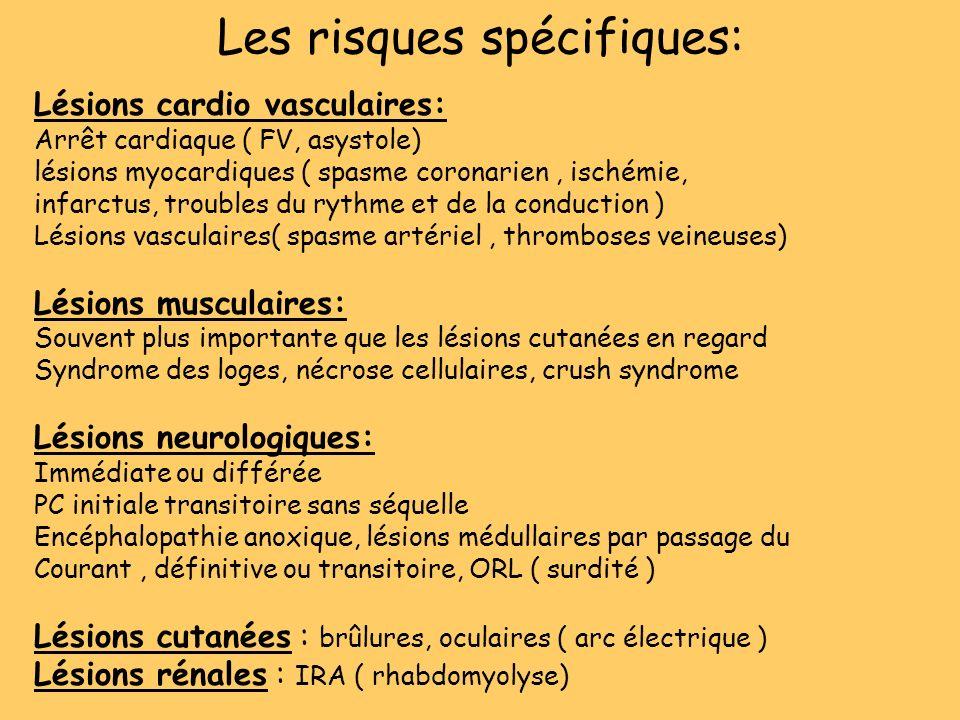 Les risques spécifiques: Lésions cardio vasculaires: Arrêt cardiaque ( FV, asystole) lésions myocardiques ( spasme coronarien, ischémie, infarctus, tr