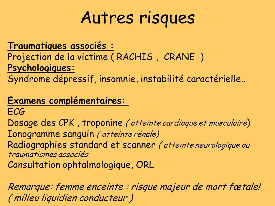 Autres risques Traumatiques associés : Projection de la victime ( RACHIS, CRANE ) Psychologiques: Syndrome dépressif, insomnie, instabilité caractérie
