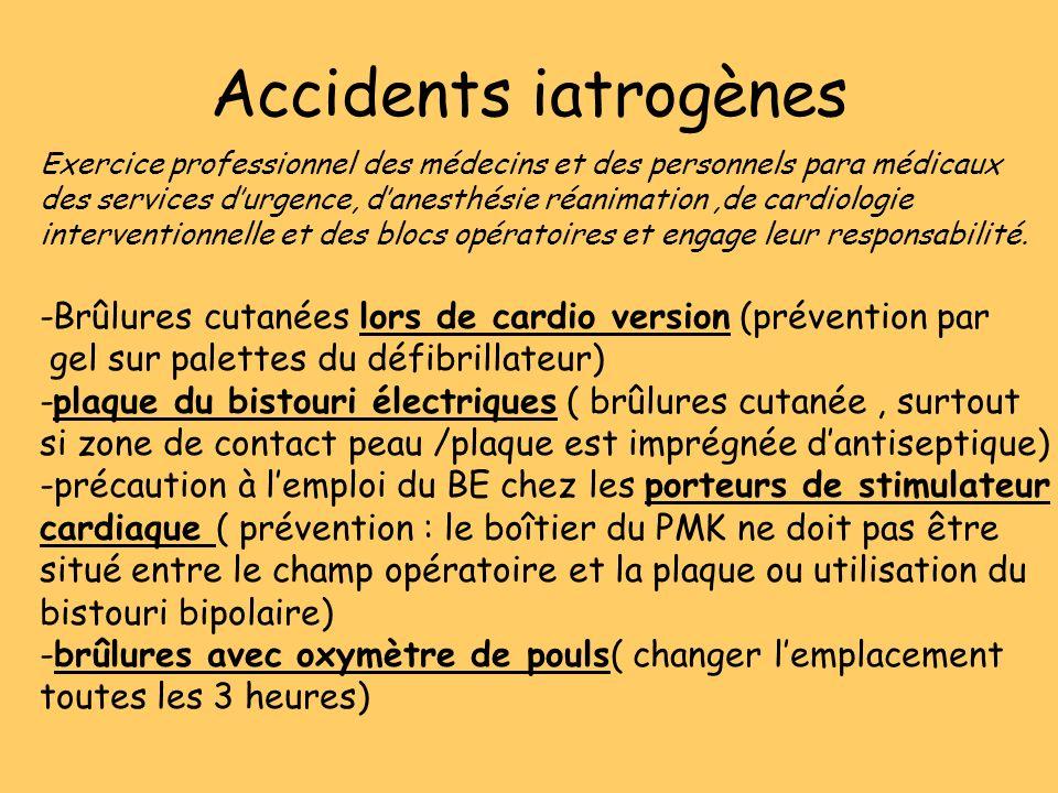 Accidents iatrogènes Exercice professionnel des médecins et des personnels para médicaux des services durgence, danesthésie réanimation,de cardiologie