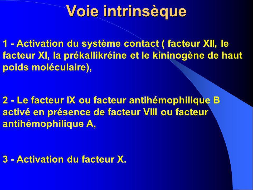 Voie intrinsèque 1 - Activation du système contact ( facteur XII, le facteur XI, la prékallikréine et le kininogène de haut poids moléculaire), 2 - Le
