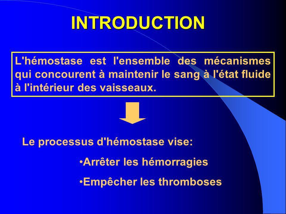 INTRODUCTION L'hémostase est l'ensemble des mécanismes qui concourent à maintenir le sang à l'état fluide à l'intérieur des vaisseaux. Le processus d'