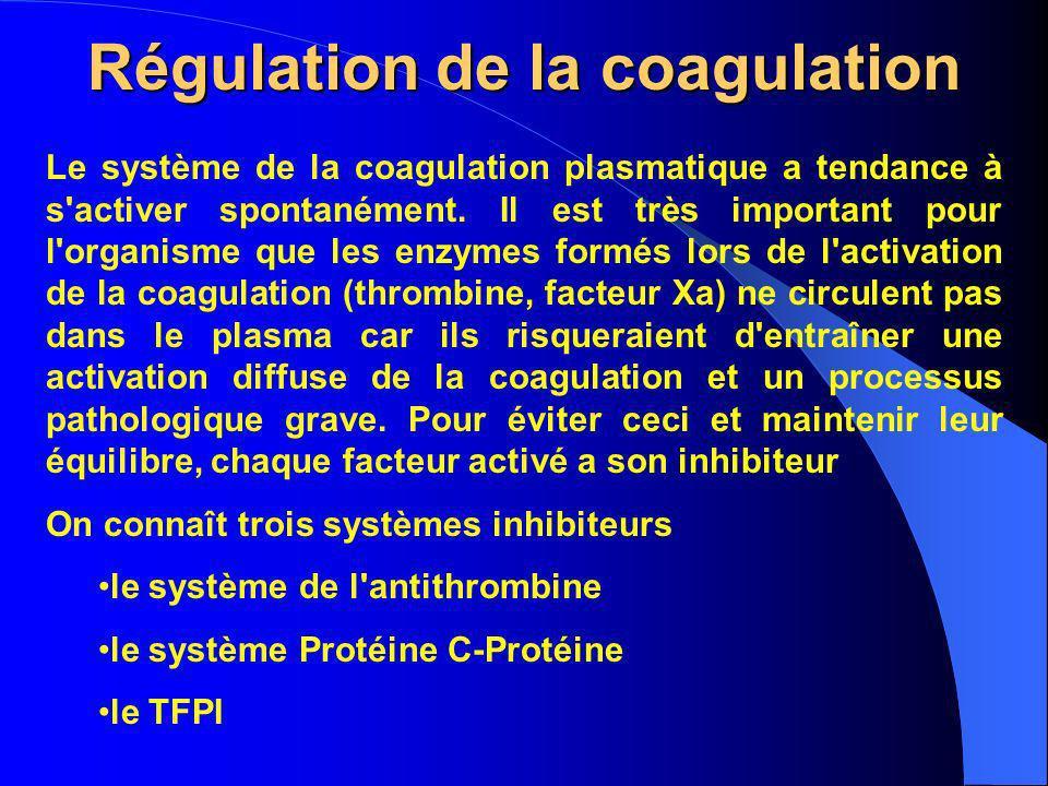 Régulation de la coagulation Le système de la coagulation plasmatique a tendance à s'activer spontanément. Il est très important pour l'organisme que