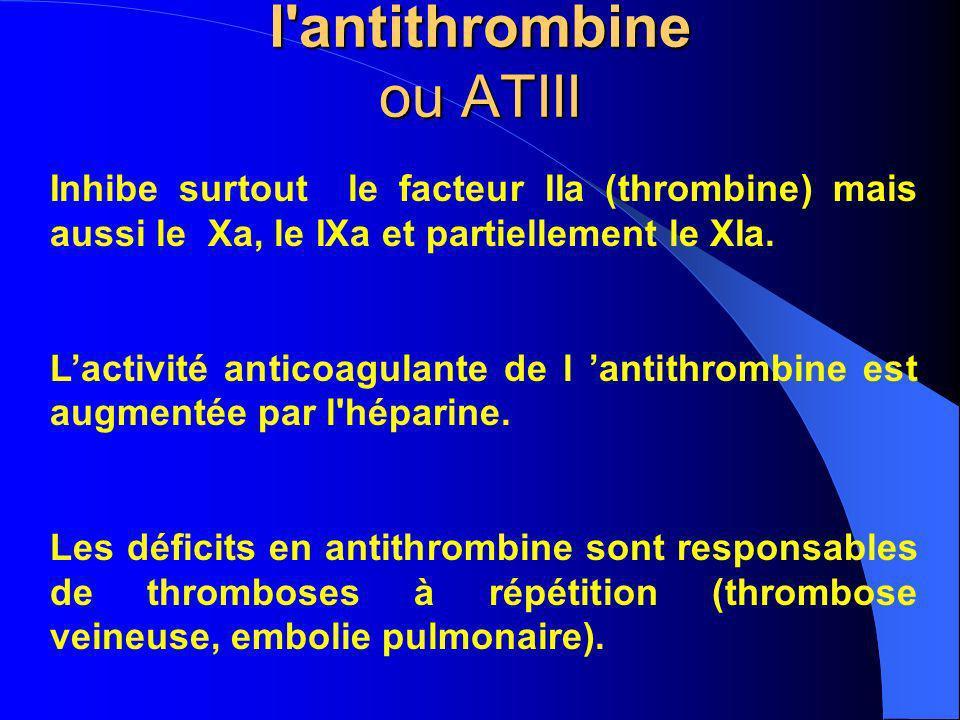 l'antithrombine ou ATIII Inhibe surtout le facteur IIa (thrombine) mais aussi le Xa, le IXa et partiellement le XIa. Lactivité anticoagulante de l ant