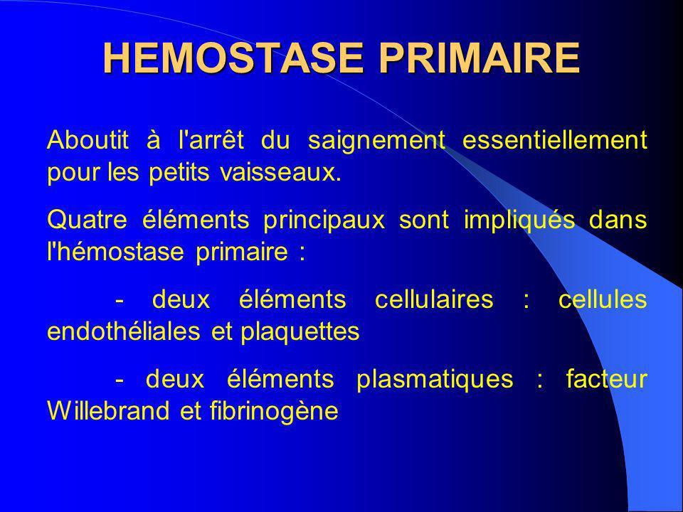 HEMOSTASE PRIMAIRE Aboutit à l'arrêt du saignement essentiellement pour les petits vaisseaux. Quatre éléments principaux sont impliqués dans l'hémosta