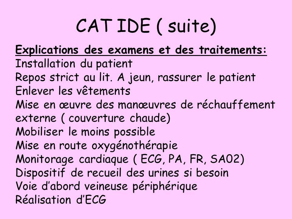 CAT IDE ( suite) Explications des examens et des traitements: Installation du patient Repos strict au lit. A jeun, rassurer le patient Enlever les vêt