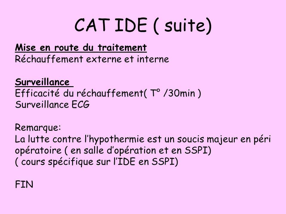 CAT IDE ( suite) Mise en route du traitement Réchauffement externe et interne Surveillance Efficacité du réchauffement( T° /30min ) Surveillance ECG R