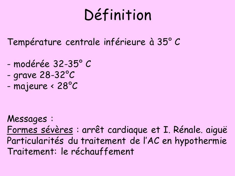 Définition Température centrale inférieure à 35° C - modérée 32-35° C - grave 28-32°C - majeure < 28°C Messages : Formes sévères : arrêt cardiaque et