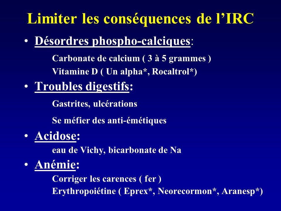 Peut-on ralentir la progression de lIRC ? Traiter lHTA: Néphropathies = 1è cause dHTA HTA = cause majeure dIRC Gravité de lHTA. Objectif 130 / 80. Agi