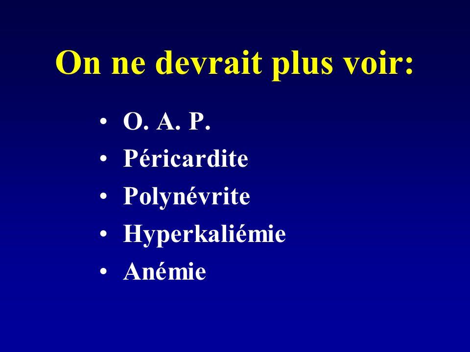 On ne devrait plus voir: O. A. P. Péricardite Polynévrite Hyperkaliémie Anémie