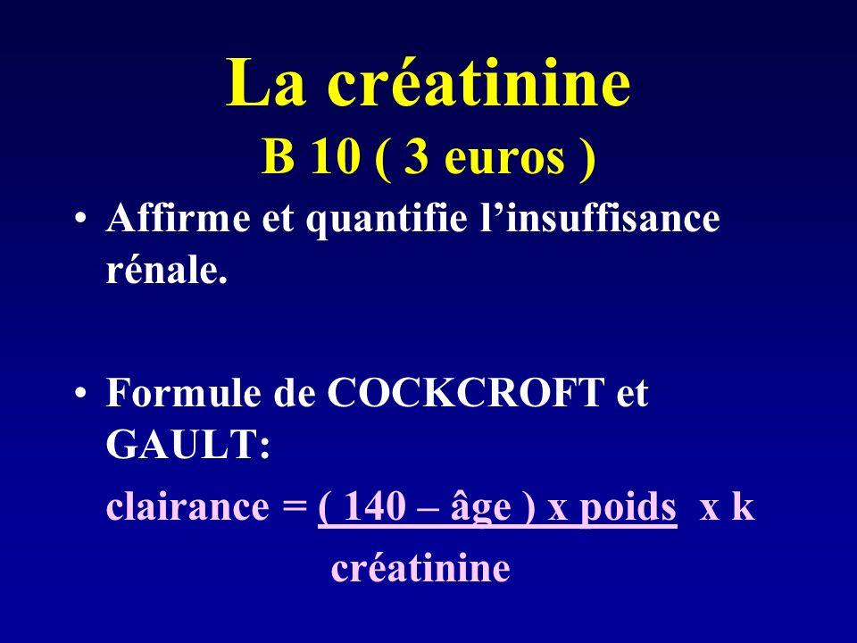 La créatinine B 10 ( 3 euros ) Affirme et quantifie linsuffisance rénale.