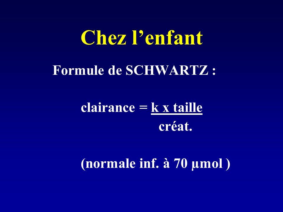 Chez lenfant Formule de SCHWARTZ : clairance = k x taille créat. (normale inf. à 70 µmol )