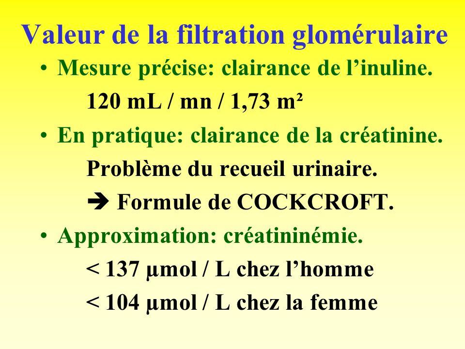 Mesure de la filtration glomérulaire: la clairance rénale. Définition: pour une substance, cest le volume virtuel de plasma que le rein peut épurer co