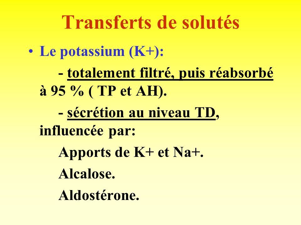 Transferts de solutés Le sodium (Na+) : - totalement filtré, puis réabsorbé (70 % TP, 20 % AH, 5 à 8 % TD et collecteur). - facteurs de régulation: Ba