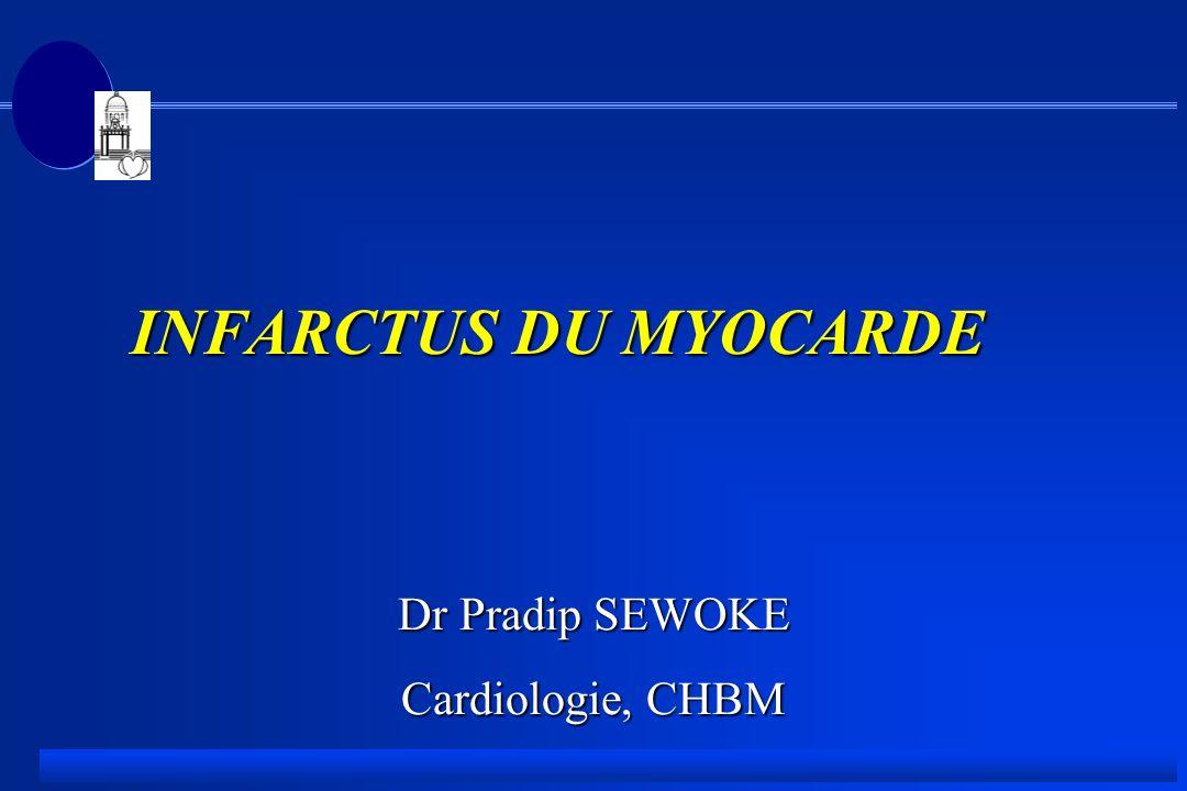 Infarctus aigu - Prise en charge pré-hospitalière F Syndrome douloureux thoracique F vérification des fonctions vitales (pouls, tension, respiration) F calmer la douleur, analgésique majeur.