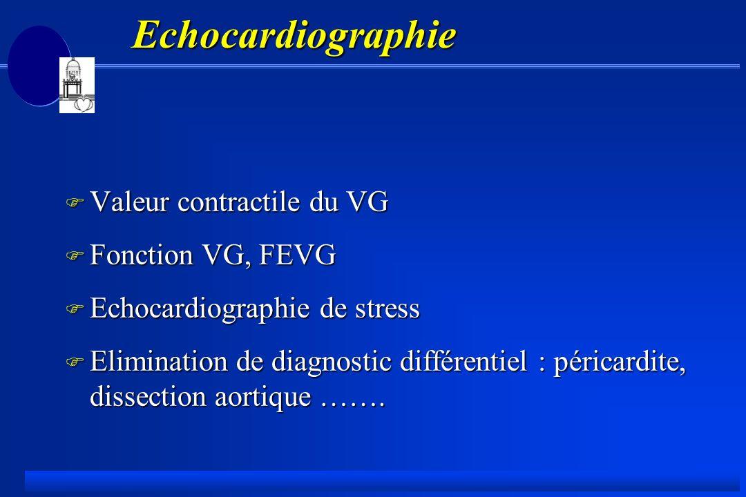 Echocardiographie F Valeur contractile du VG F Fonction VG, FEVG F Echocardiographie de stress F Elimination de diagnostic différentiel : péricardite, dissection aortique …….