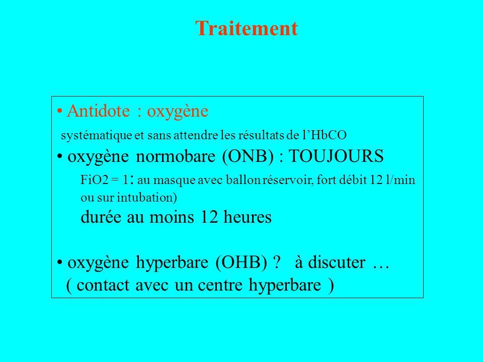 Traitement Antidote : oxygène systématique et sans attendre les résultats de lHbCO oxygène normobare (ONB) : TOUJOURS FiO2 = 1 : au masque avec ballon