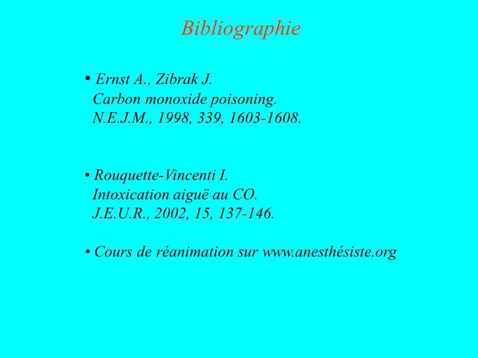 Bibliographie Ernst A., Zibrak J. Carbon monoxide poisoning. N.E.J.M., 1998, 339, 1603-1608. Rouquette-Vincenti I. Intoxication aiguë au CO. J.E.U.R.,