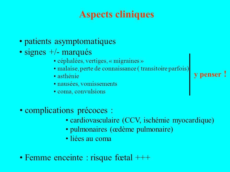 Aspects cliniques patients asymptomatiques signes +/- marqués céphalées, vertiges, « migraines » malaise, perte de connaissance ( transitoire parfois)