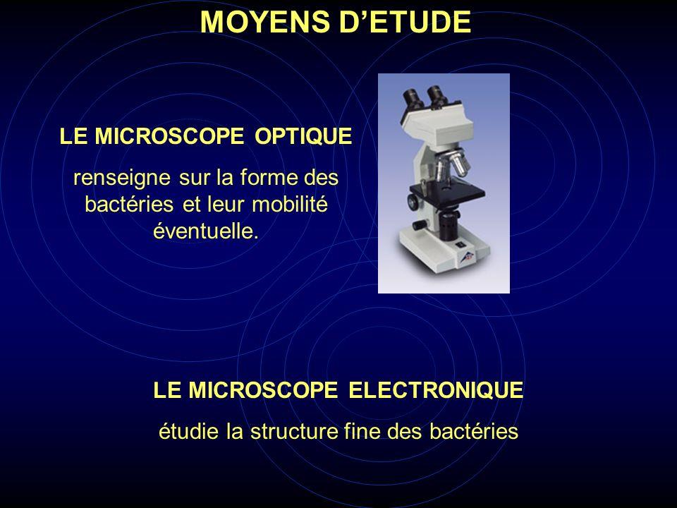 MOYENS DETUDE LE MICROSCOPE OPTIQUE renseigne sur la forme des bactéries et leur mobilité éventuelle. LE MICROSCOPE ELECTRONIQUE étudie la structure f