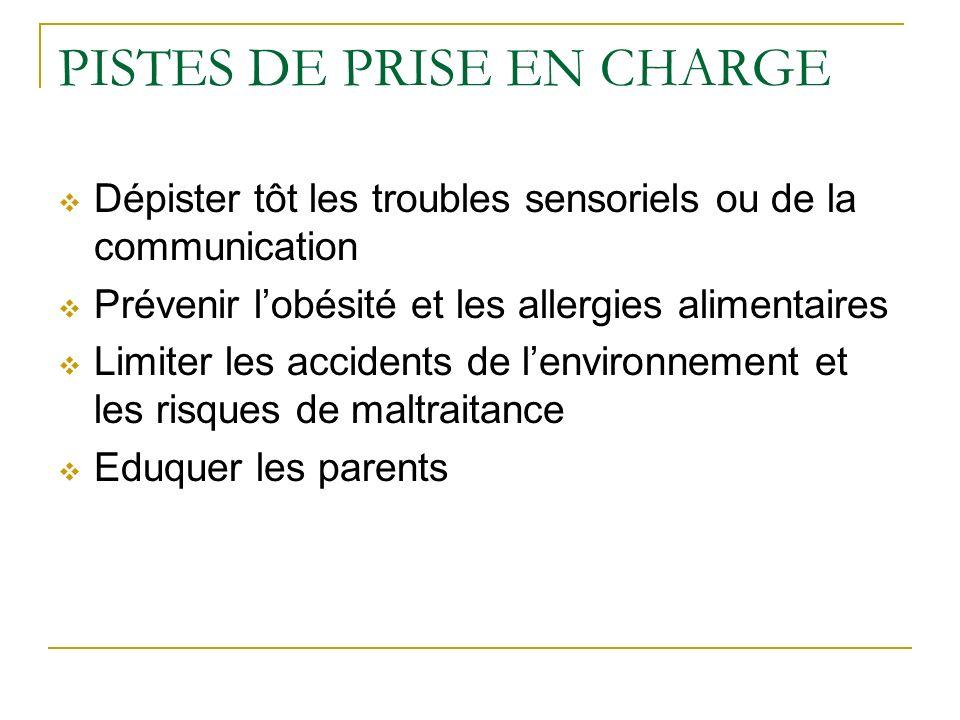 PISTES DE PRISE EN CHARGE Dépister tôt les troubles sensoriels ou de la communication Prévenir lobésité et les allergies alimentaires Limiter les acci