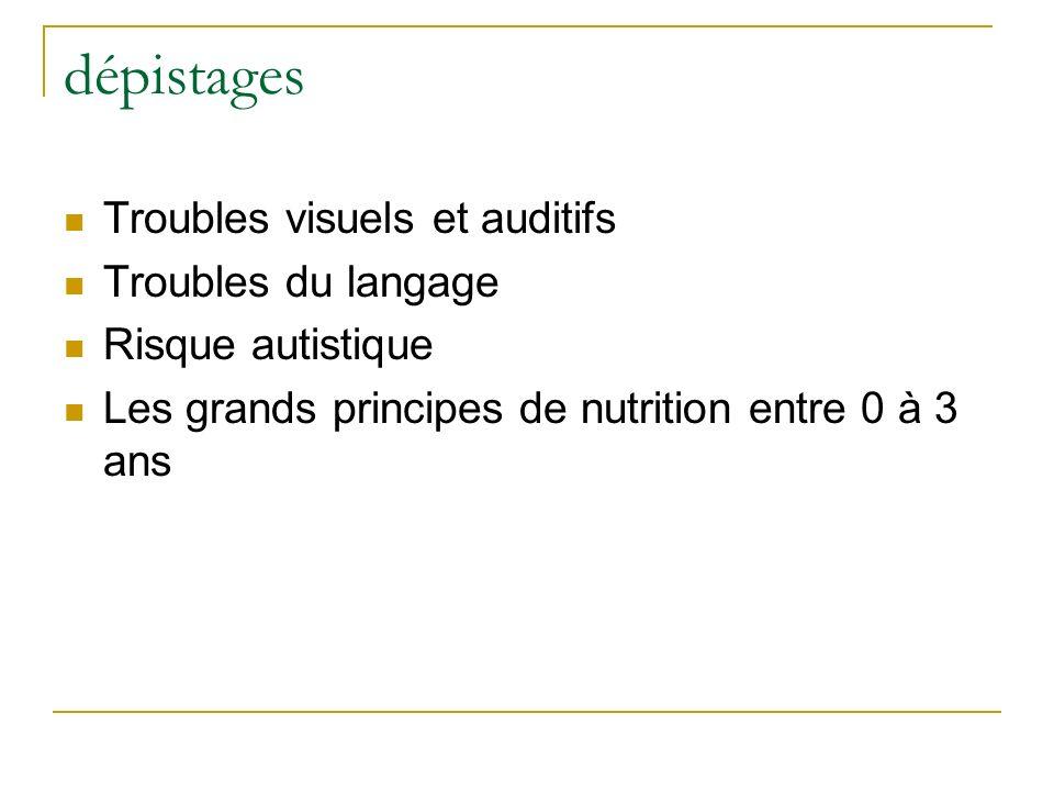 dépistages Troubles visuels et auditifs Troubles du langage Risque autistique Les grands principes de nutrition entre 0 à 3 ans