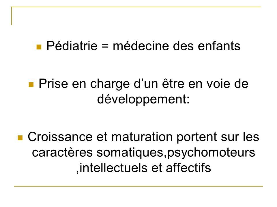 Pédiatrie = médecine des enfants Prise en charge dun être en voie de développement: Croissance et maturation portent sur les caractères somatiques,psy