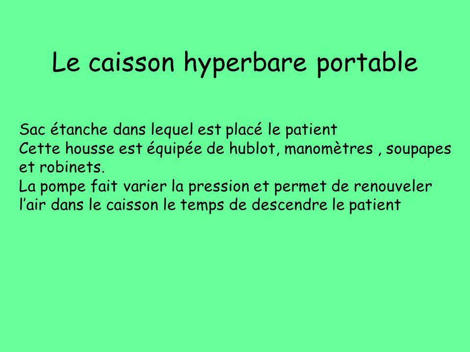 Le caisson hyperbare portable Sac étanche dans lequel est placé le patient Cette housse est équipée de hublot, manomètres, soupapes et robinets. La po