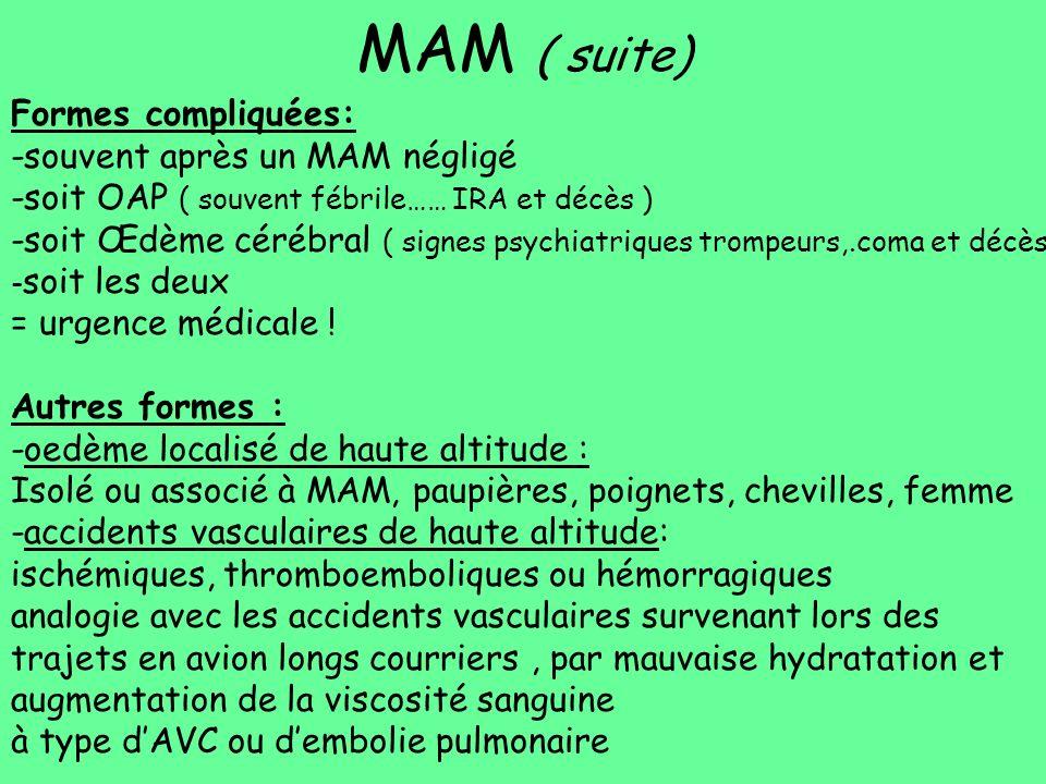 MAM ( suite) Formes compliquées: -souvent après un MAM négligé -soit OAP ( souvent fébrile…… IRA et décès ) -soit Œdème cérébral ( signes psychiatriqu