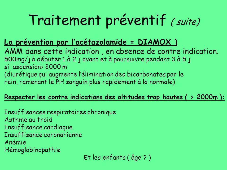 Traitement préventif ( suite) La prévention par lacétazolamide = DIAMOX ) AMM dans cette indication, en absence de contre indication. 500mg/j à débute