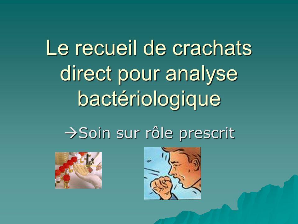 Le recueil de crachats direct pour analyse bactériologique Soin sur rôle prescrit Soin sur rôle prescrit