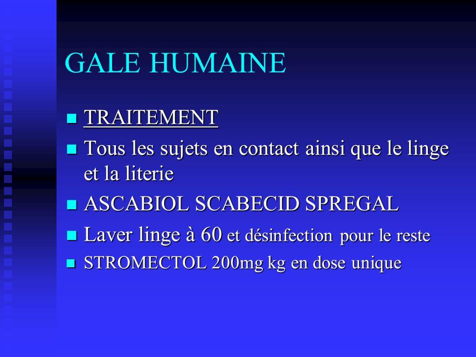 GALE HUMAINE TRAITEMENT TRAITEMENT Tous les sujets en contact ainsi que le linge et la literie Tous les sujets en contact ainsi que le linge et la lit