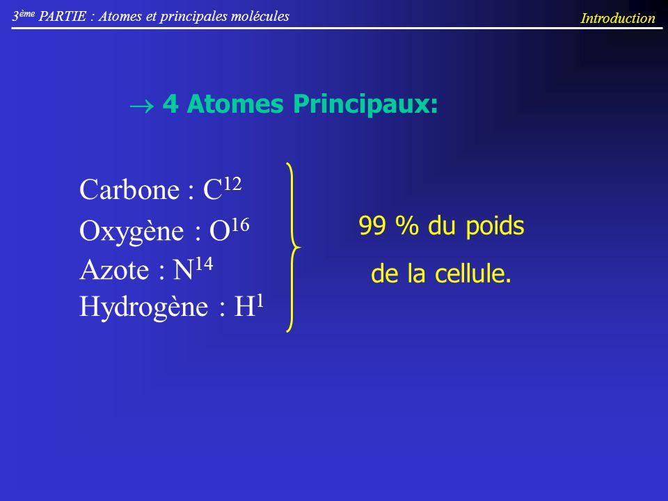 3 ème PARTIE : Atomes et principales molécules Introduction 99 % du poids de la cellule. 4 Atomes Principaux: Carbone : C 12 Oxygène : O 16 Azote : N