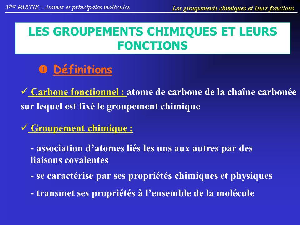 LES GROUPEMENTS CHIMIQUES ET LEURS FONCTIONS 3 ème PARTIE : Atomes et principales molécules Les groupements chimiques et leurs fonctions Définitions Carbone fonctionnel : atome de carbone de la chaîne carbonée sur lequel est fixé le groupement chimique Groupement chimique : - association datomes liés les uns aux autres par des liaisons covalentes - se caractérise par ses propriétés chimiques et physiques - transmet ses propriétés à lensemble de la molécule