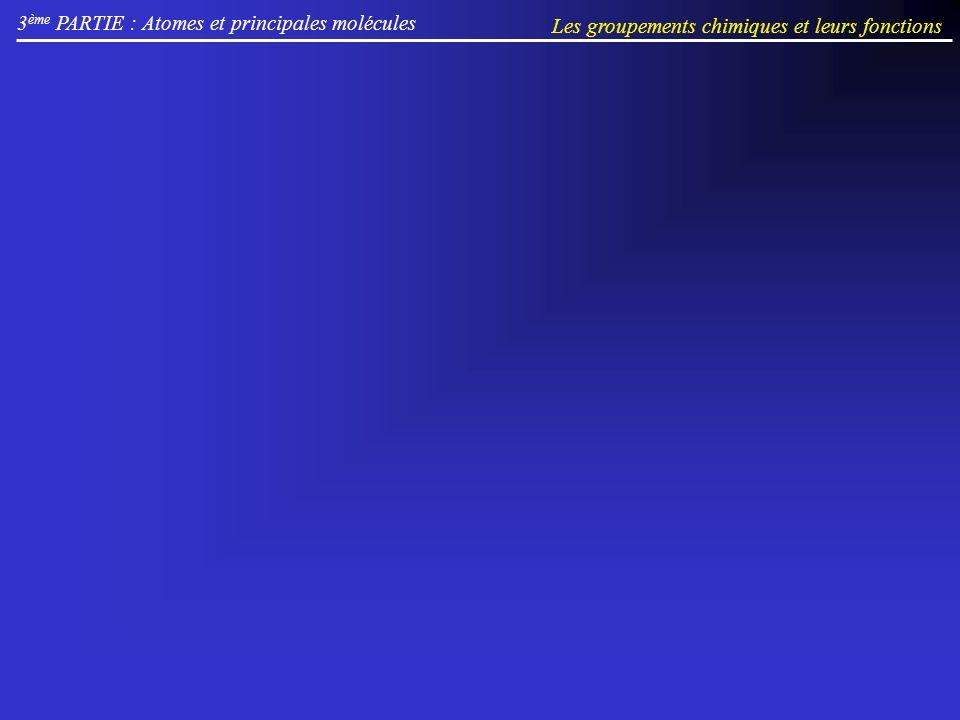 3 ème PARTIE : Atomes et principales molécules Les groupements chimiques et leurs fonctions